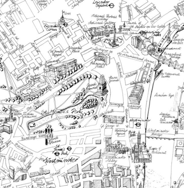 风格手绘伦敦地图
