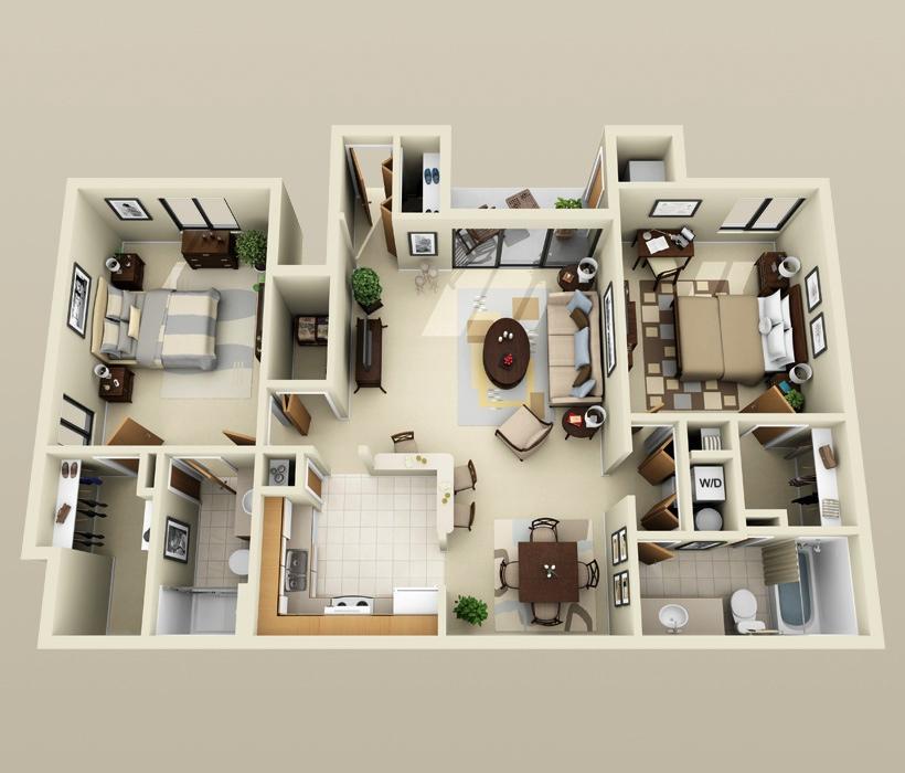 这两居室患中二病?3D全景建筑方案大改造 - 建筑