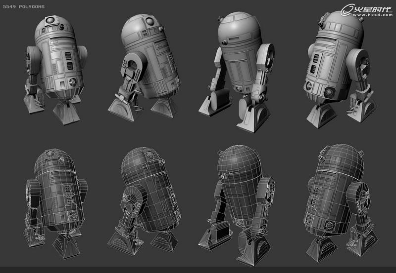 三维教程:《星球大战》机器人r2d2制作流程