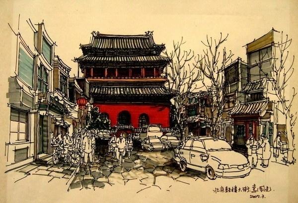 南艺设计_中国手绘建筑画大赛获奖作品图片