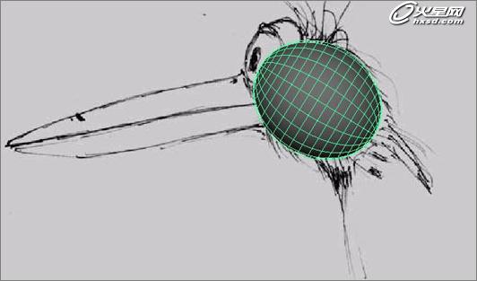 本章maya教程通过maya绘制一只小鸟教您如何用maya绘制卡通形象,内容详细,融汇贯通。看看效果图先。    接下来,一步步介绍详细过程。   1、我在制作所有模型之前都习惯绘制草图,它能够帮助我形象的理解模型结构。选择侧视图Panels>Ortograhic>side view,View>Camera Attribute Editor,选择Environment,点击image plane旁边的Create按钮,载入草图。    2、创建一subdivisions均为20的多
