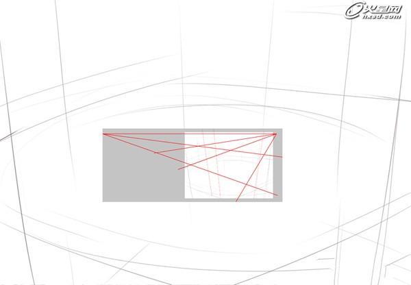 定好透视线:找好视平线和消失点,然后做透视辅助线.